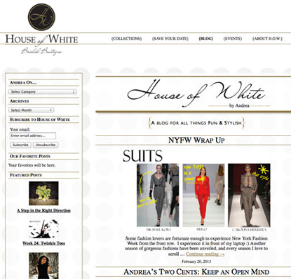 Bridal Boutique Blog Page Design