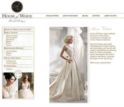 Bridal Boutique Collections Page Design