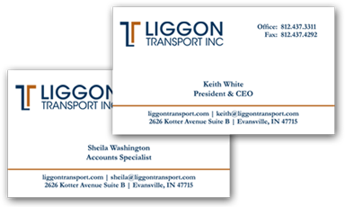 Business Card design for Liggon Transport