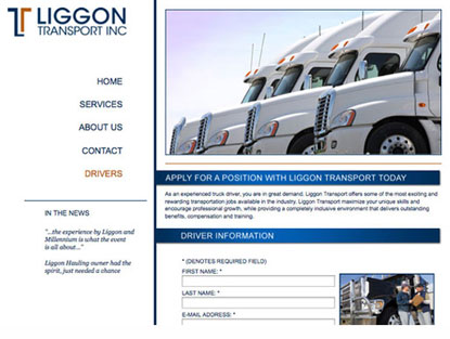 trucking website contact page