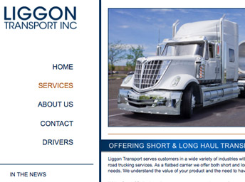 trucking website close up