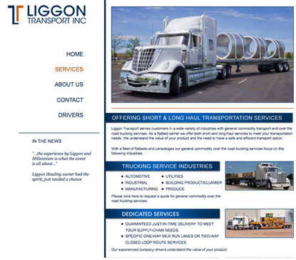 trucking website job page