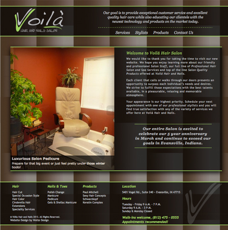 website design evansville hair salon