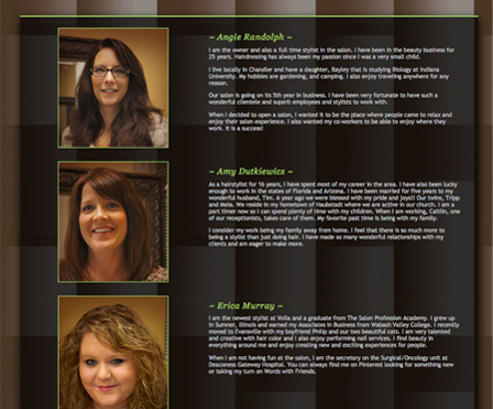 evansville hair stylist in hair salon website