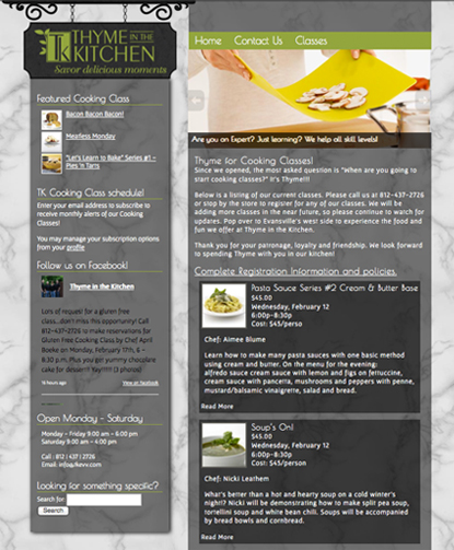 website-design-evansville-cooking-store