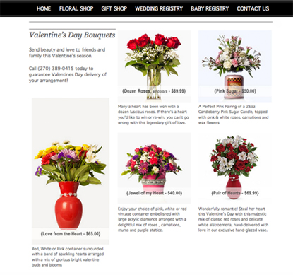 Custom website design of Creative Touch Floral pg
