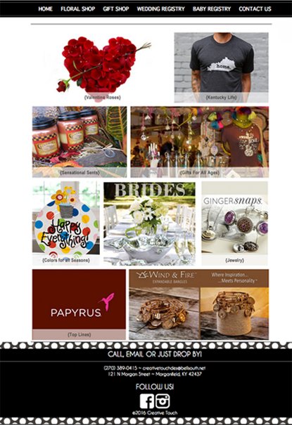 custom website design for gifts offered at Creative Touch